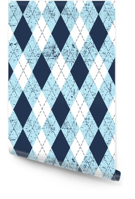 Seamless argyle aged pattern. Traditional diamond check print in moderate blue, soft blue and white with black stitch and grunge texture. Grunge vintage seamless background. Wallpaper Roll