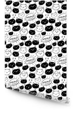 Katten patroon. naadloze achtergrond met zwart-witte hand getrokken katten en miauwwoord. schattig huisdier textuur. Behangrol