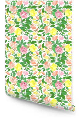 Seamless pattern with roses delicate flowers, small flowers and green leaves. Wallpaper roll