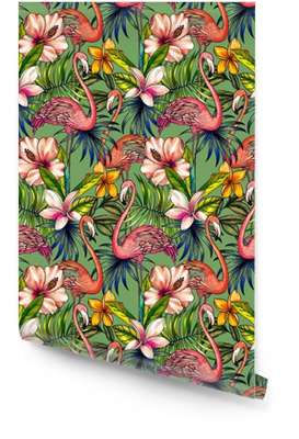Patrones sin fisuras con florales tropicales y flamenco. Rollo de papel pintado
