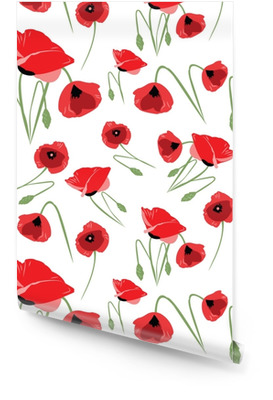 Red poppies seamless pattern Wallpaper roll