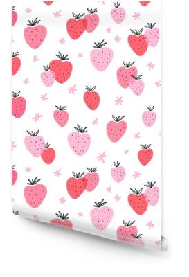 Modèle sans couture de fraise doodle Rouleau de papier peint