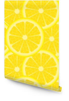 Seamless pattern with yellow lemons Wallpaper Roll