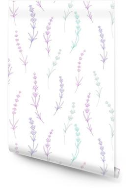 Sin patrón de flores de lavanda sobre un fondo blanco. patrón de acuarela con lavanda para embalaje. ilustración vectorial Rollo de papel pintado