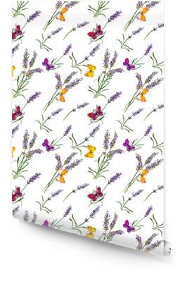Kwiaty lawendy, motyle. akwarela bezszwowe wzór Tapeta w rolce