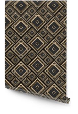 Nahtlose Muster im Art-Deco-Stil. schwarze und goldene Fliesen. Keramikfliesen des Effektes 3d. Luxus-Hintergrund. Tapetenrolle