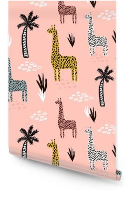 Naadloze patroon met giraffe, palmboom, hand getrokken vormen en texturen. Afrikaanse textuur voor stof, textiel. vector achtergrond Behangrol