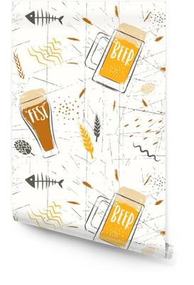 Modello disegnato a mano di vettore senza soluzione di continuità della festa di birra. bicchieri di birra stilizzati e grani su uno sfondo bianco. Rotolo di carta da parati