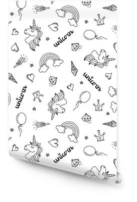 Unicorn, arc-en-ciel et coeurs modèle sans couture dessin à la main contour noir isolé sur fond blanc Rouleau de papier peint