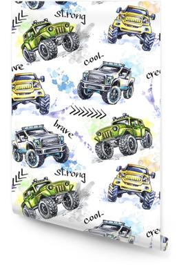Akvarell sömlösa mönster tecknade monster lastbilar. färgglada extremsportbakgrund. 4x4. fordonsparkering av väg. livsstil. människans hobby. transport. Rulltapet