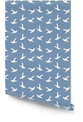 Origami duif vogel naadloze patroon op blauwe achtergrond. Japans vectorornament. eindeloze textuur kan worden gebruikt voor behang, webpagina-achtergrond, oppervlak, textieldruk .. Behangrol