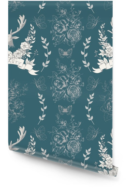 Patrones sin fisuras con ciervos, mariposas y ramos Rollo de papel pintado