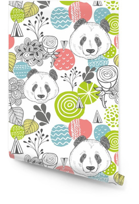 Seamless pattern with abstract design elements and heads of panda. Wallpaper roll