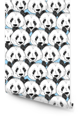 Seamless pattern with panda faces. Wallpaper Roll