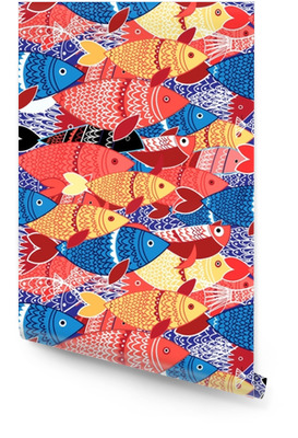 Seamless pattern of colorful fish Wallpaper Roll