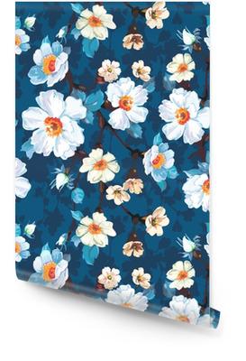 Modré květinové bezešvé vzor Tapeta v rolích