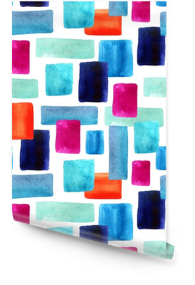 Watercolor rectangles with paper texture bacground. Wallpaper roll