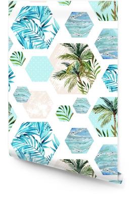 Abstract summer geometric hexagon shapes seamless pattern Wallpaper roll