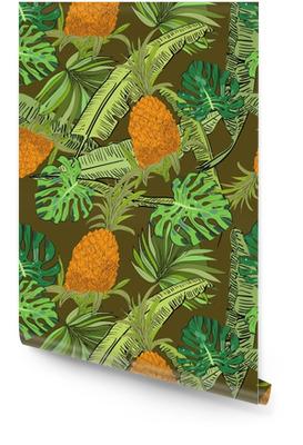 Vecteur dessiné tropical modèle sans couture sur fond marron avec des ananas, monstera et banane laisse dans un style de croquis. collection exotique. Rouleau de papier peint