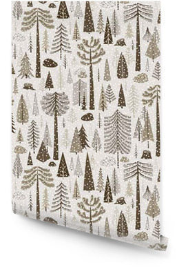 Seamless winter pattern of coniferous forest Wallpaper roll
