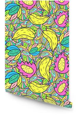 Nahtloses Muster mit Karikaturgekritzelbanane. Obst Hintergrund. Vektor-Illustration. Tapetenrolle