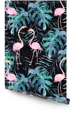 Vesiväri saumaton malli. trooppinen tuloste flamingoilla. käsin piirretty kuva Rullatapetti