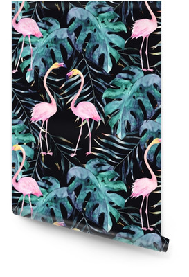Watercolor seamless pattern. Tropical print with flamingo. Hand-drawn illustration Wallpaper roll