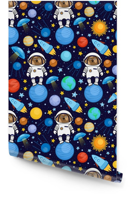 Colorful seamless cartoon space pattern with dog astronauts, rockets, planets, stars on starry night sky background, vector illustration. Cute space travel seamless pattern with dog astronaut Wallpaper roll