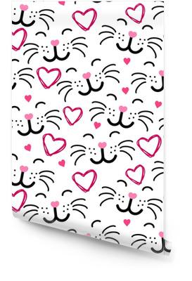 Süße Katze Gesicht nahtlose Muster Vektor Tapetenrolle