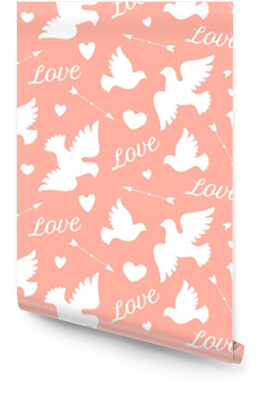 Seamless pattern with white love doves, hearts, arrows and text Love. Symbol and sign of Love on pink background. Graphic design wrapping paper for Valentine Day. Vector Illustration Wallpaper Roll