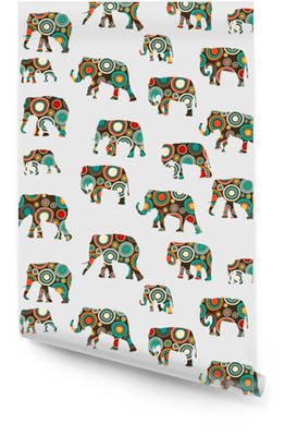 Abstract colorful pattern with elephants Wallpaper roll