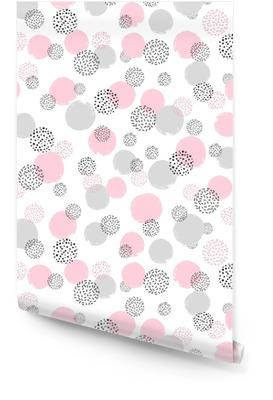 Nahtloses punktiertes Muster mit den rosa und grauen Kreisen. Vektor abstrakten Hintergrund mit runden Formen Tapetenrolle