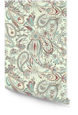 Abstraktes Weinlesemuster mit dekorativen Blumen, Blättern und Paisley-Muster in der orientalischen Art. Tapetenrolle