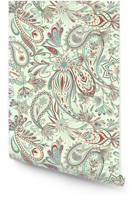 Abstract vintage pattern with decorative flowers, leaves and Paisley pattern in Oriental style. Wallpaper Roll