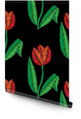 Embroidery stitches imitation seamless pattern with tulip Wallpaper Roll