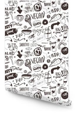 Naadloze moderne veganistisch patroon met gezond voedsel. schets hand getrokken items. hipster stijl. Behangrol