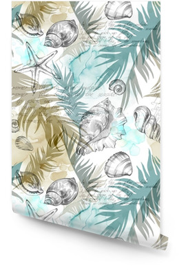 Summer Party holiday background, watercolor illustration. Seamless pattern with sea shells, molluscs and palm leaves. Tropical texture in romantic colors. Wallpaper roll