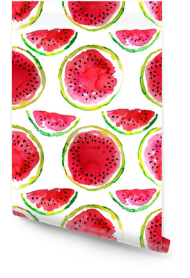 Zomer thema. Aquarel watermeloen naadloze patroon. hand getekend. Behangrol