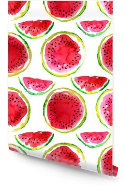 Sommerthema. Nahtloses Muster der Aquarellwassermelone. handgemalt. Tapetenrolle