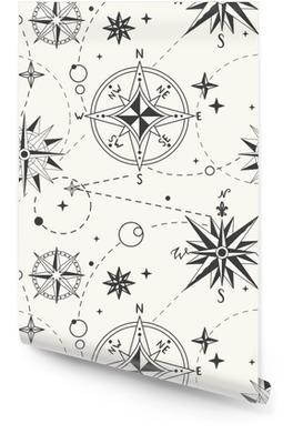 Wzór z rocznika róży wiatrów. żeglarskie tło. retro ręcznie rysowane ilustracji wektorowych Tapeta w rolce