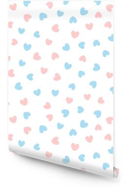 Lindo patrón transparente con corazones azules y rosas dispersos sobre fondo blanco. Rollo de papel pintado