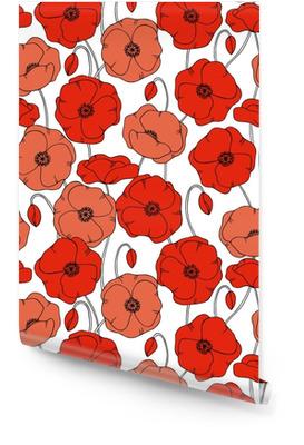 Farve vektor simpel illustration af dekorative valmue blomstermønster på hvid baggrund Tapetrulle
