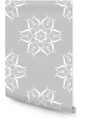 Graue und weiße Blumenverzierung. nahtlose Muster Tapetenrolle