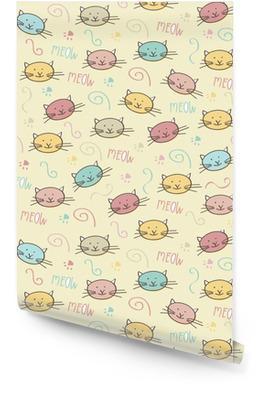 Modèle sans couture avec des chats de doodle Rouleau de papier peint
