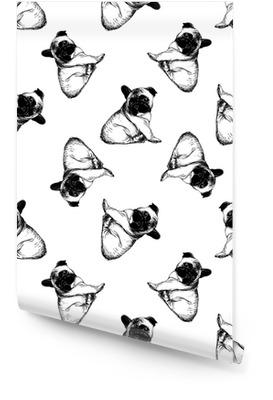 Sömlöst mönster av handritade sketchstil franska bulldoggvalpar. vektor illustration isolerad på vit bakgrund. Rulltapet