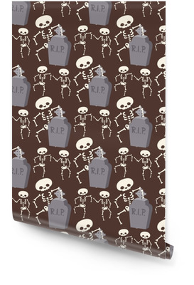 Halloween skeleton seamless pattern background night rip party trick or treat candies vector illustration. Wallpaper Roll