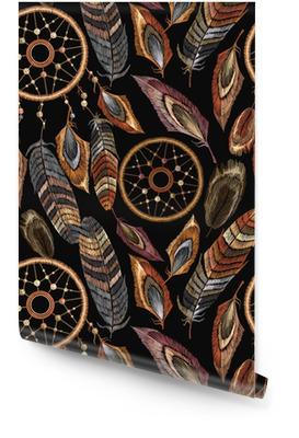 Bordado dreamcatcher boho de patrones sin fisuras. nativo americano talismán atrapasueños. ropa de estilo étnico. ropa de diseño de plantilla de moda. patrón de plumas tribal mágico, diseño de camiseta Rollo de papel pintado