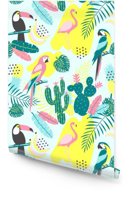 Tropical seamless pattern with toucan, flamingos, parrot, cactuses and exotic leaves. Vector illustration Wallpaper Roll