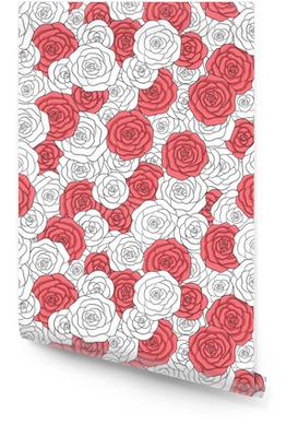 Håndtegnede vektor hvide og røde roser sømløse mønster. abstrakt delikat blomster ornament. Tapetrulle