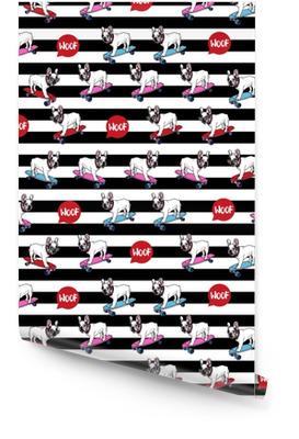 Bulldog francese su seamless pattern di skateboard. Rotolo di carta da parati